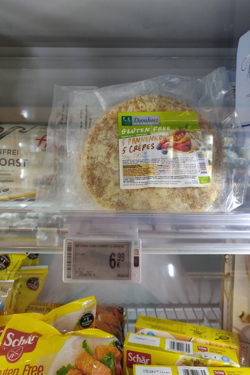 Glutenfreie Pfannkuchen im Delhaize Supermarkt Gent