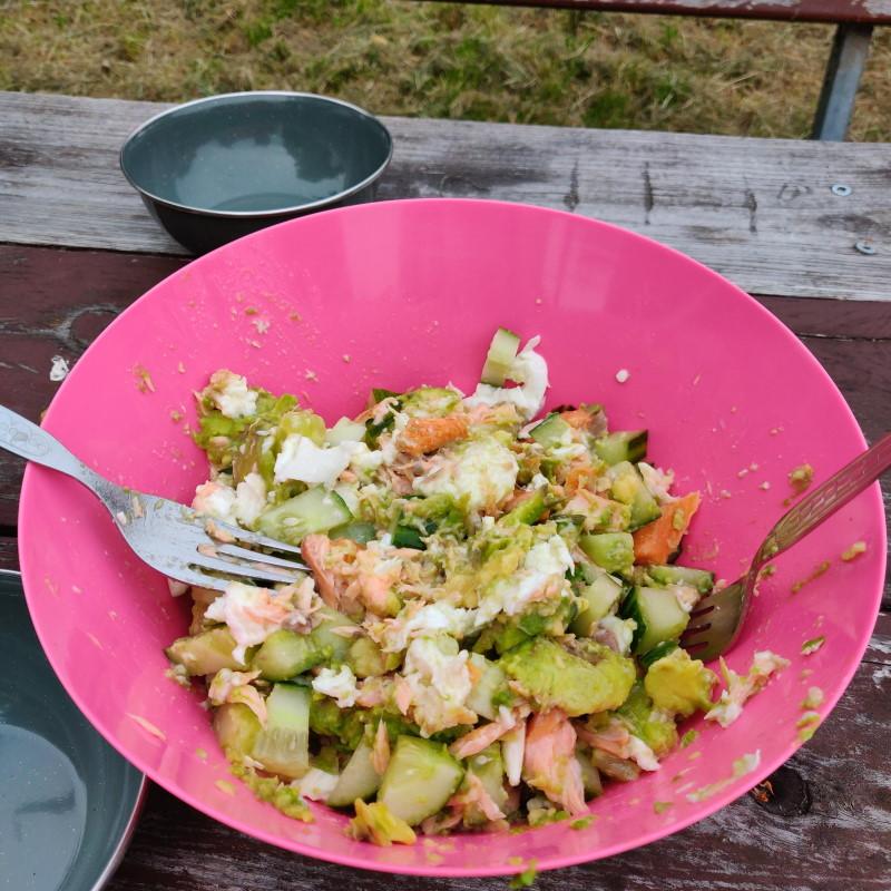 Avocado Lachs Salat in Schüssel